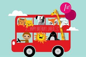 birthday bus vector