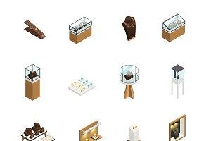 Jewelry shop decorative icons set