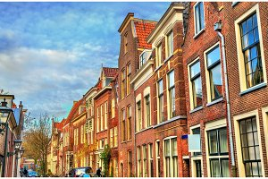 Traditional dutch houses on a street