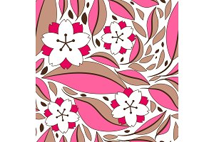 Seamless pattern with sakura or