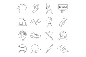 Baseball icons set, simple style