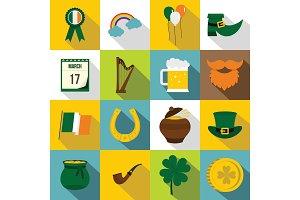 Saint Patrick icons set, flat style