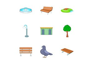 Park icons set, cartoon style