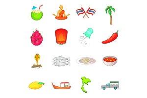 Thailand symbols icons set, cartoon