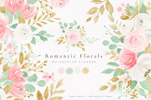 Romantic Florals Watercolor Flowers