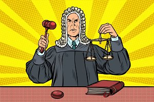 judge with a hammer. scales of
