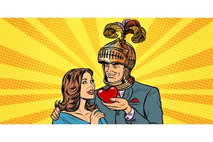 woman and man knight heart love