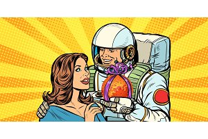 Couple in love. Astronaut gives a