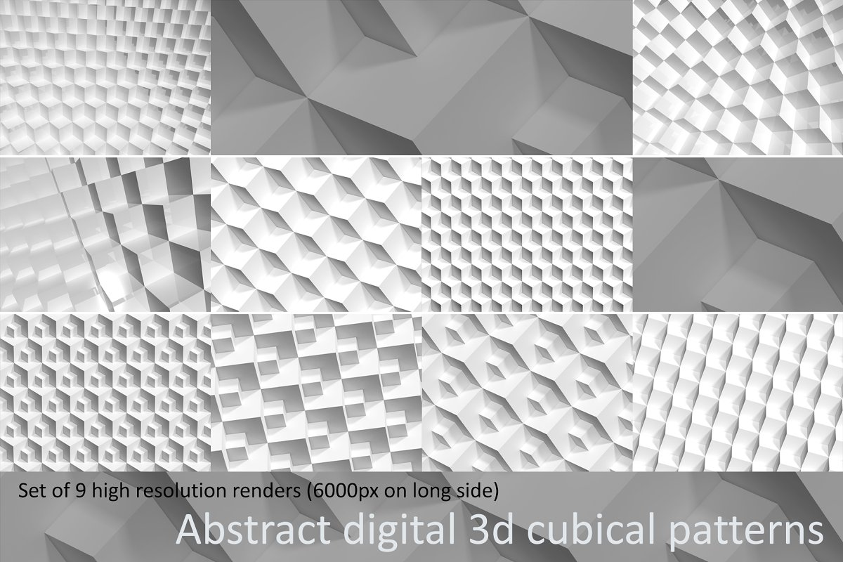 Abstract digital 3D cubical patterns