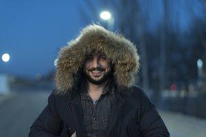 man with parka coat