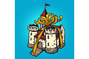 gift ribbon medieval castle, fairy