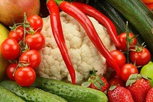 assortment fresh fruits and vegetabl