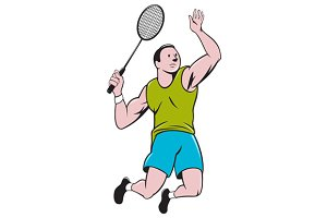 Badminton Player Racquet Striking Ca
