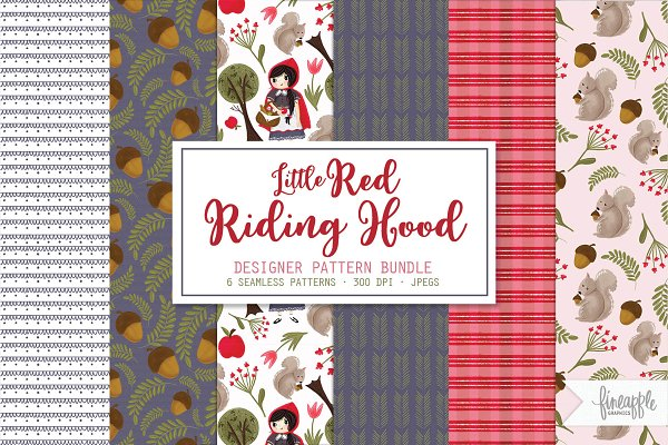 Illustrations: FINEAPPLE PAIR - Little Red Riding Hood Pattern Pack