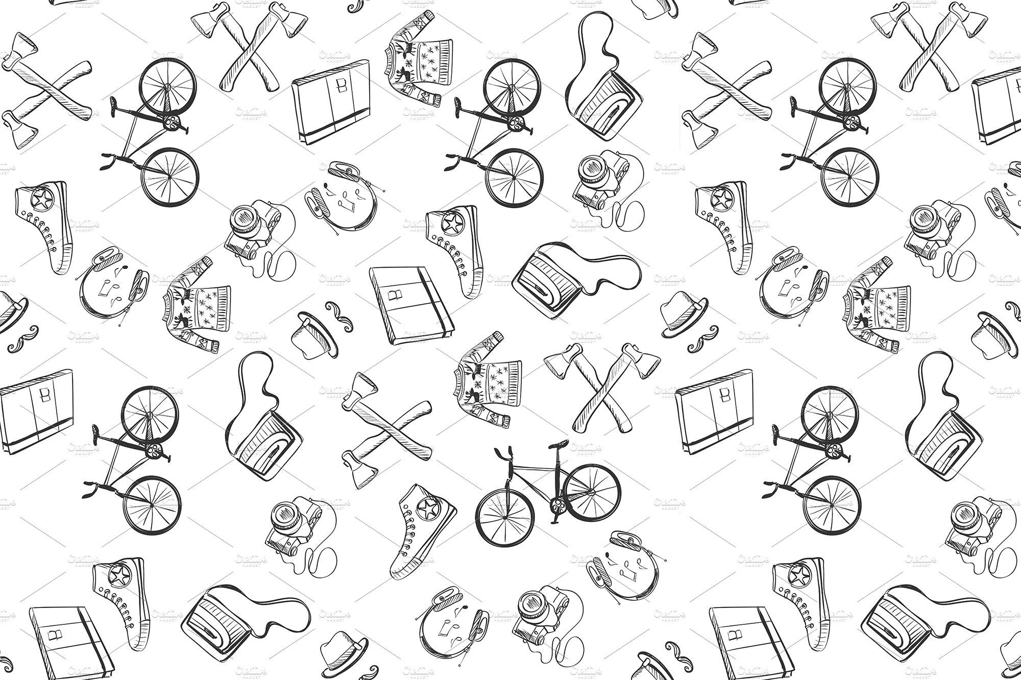 hand-drawn Hipster style pattern ~ Patterns ~ Creative Market