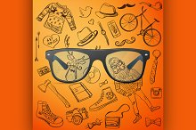 hipster glasses hand-drawn Hipster