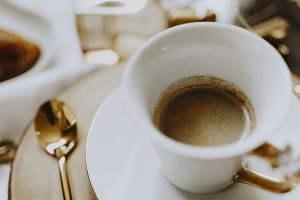 Hot coffee in a cup