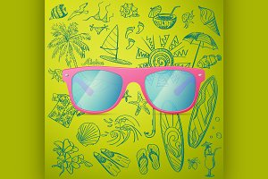 Pink Ladies Sunglasses and hand draw