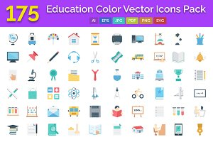 175 Education Color Icons Pack