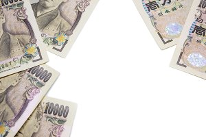 money yen banknote on white