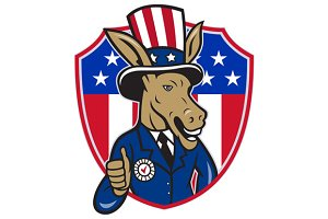 Democrat Donkey Mascot Thumbs Up Fla
