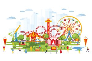Amusement Park with Carousels