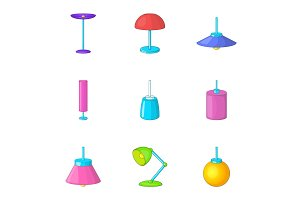 Lamp furniture icons set, cartoon