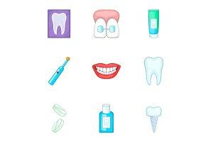 Dentist equipment icons set, cartoon