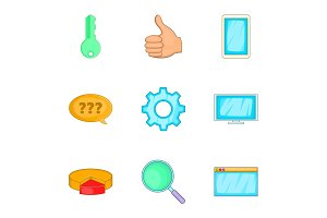 Bussiness plan, marketing icons set