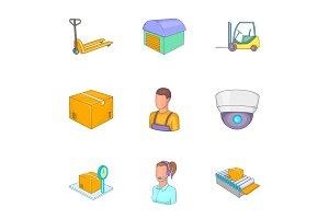 Service industry icons set, cartoon