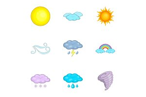 Weather forecast icons set, cartoon