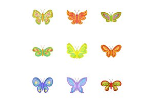 Butterfly insect icons set, cartoon