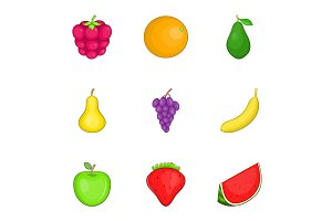 Colored fruit icons set, cartoon