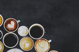 Coffee cups on a black background