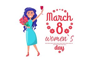 8 March Womens Day Poster with Happy