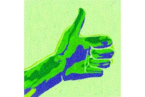 abstract art painted hand showing
