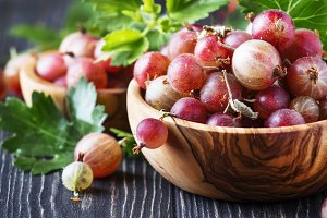 Pink sweet gooseberries with leaves