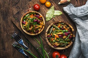 Green beans with roots, vegetables,