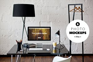 iMac B&W workspace - 6 photo mockups