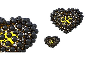 black hearts made of spheres with