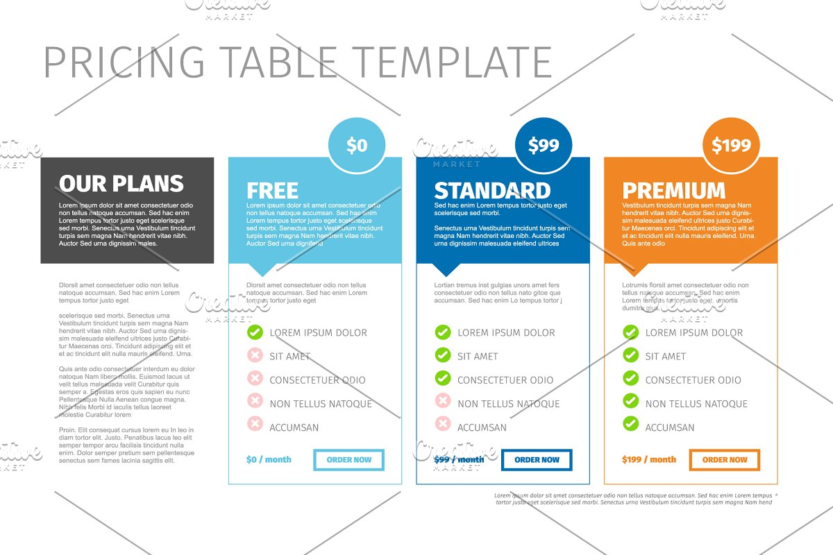 Product pricing table template