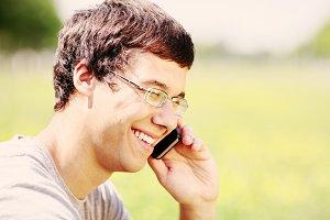 Guy talking on mobile phone