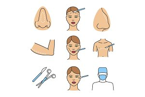 Plastic surgery color icons set