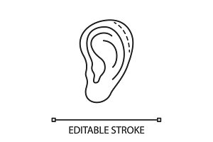 Ear plastic surgery linear icon