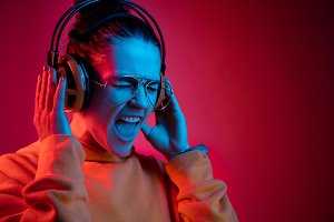 Fashion pretty woman with headphones