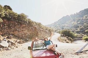Girl on car bonnet