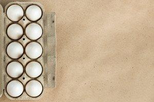 Cardboard egg rack with eggs on