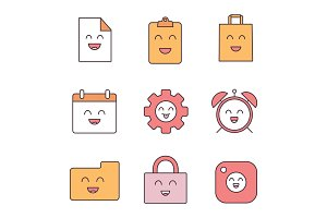 Smiling items color icons set