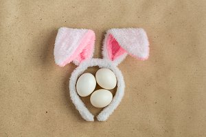 Top view of bunny ears easter