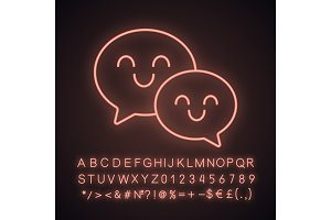 Smiling speech bubbles neon icon